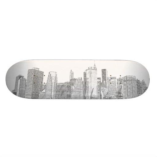 Horizonte de Manhattan en la noche Patines Personalizados
