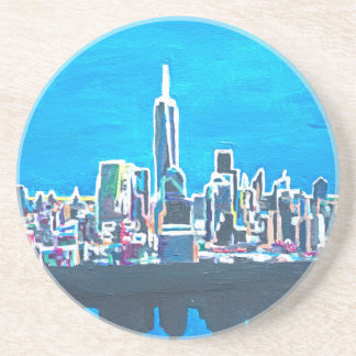 Horizonte de Manhattan New York City con 1wtc Posavasos Manualidades