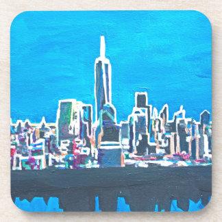 Horizonte de Manhattan New York City con 1wtc Posavasos De Bebida