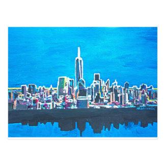 Horizonte de Manhattan New York City con 1wtc Tarjetas Postales