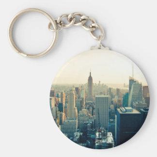 Horizonte de Manhattan, New York City Llavero Redondo Tipo Pin