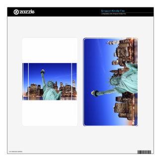 Horizonte de Manhattan y la estatua de la libertad Skins Para Kindle Fire