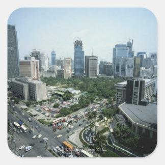 Horizonte de Manila Pegatina Cuadrada