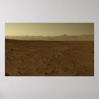 Horizonte de Marte vía la curiosidad Rover Poster
