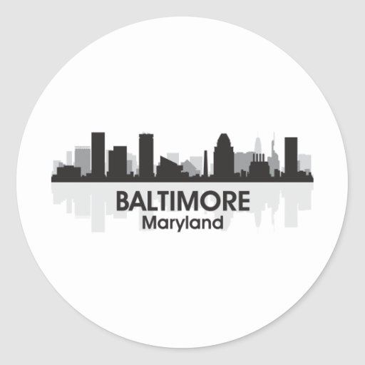 Horizonte de Maryland Baltimore Pegatina Redonda