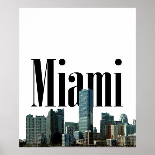 Horizonte de Miami con Miami en el poster del ciel