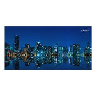 Horizonte de Miami en el panorama de la noche - Ph Tarjeta Fotográfica Personalizada