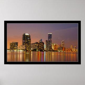 Horizonte de Miami en el poster del panorama de la