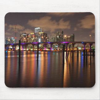 Horizonte de Miami en la noche - Mousepad Alfombrillas De Ratón