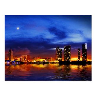 Horizonte de Miami en la noche - postal