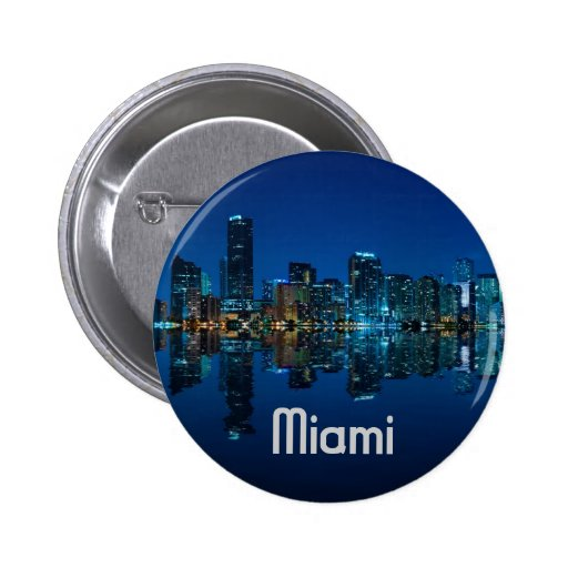 Horizonte de Miami en la oscuridad Pin