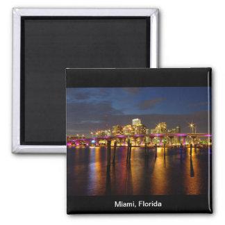 Horizonte de Miami la Florida en el imán de la noc