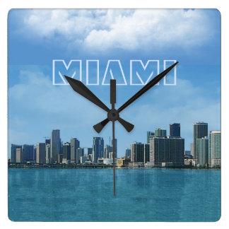 Horizonte de Miami Reloj Cuadrado