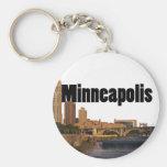 Horizonte de Minneapolis con Minneapolis en el cie Llavero Redondo Tipo Pin