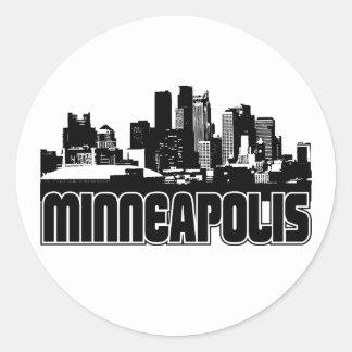 Horizonte de Minneapolis Pegatina Redonda
