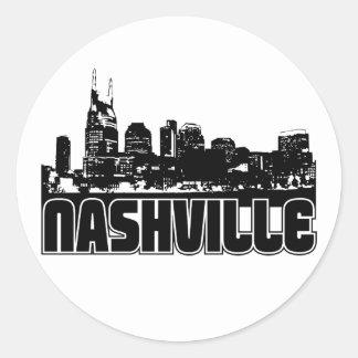 Horizonte de Nashville Pegatina Redonda
