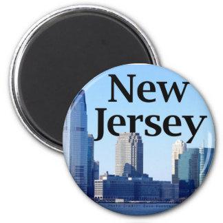 Horizonte de New Jersey con New Jersey en el cielo Imán Redondo 5 Cm