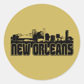 Horizonte de New Orleans Etiqueta Redonda