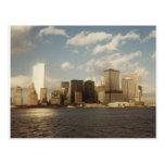 Horizonte de New York City antes de 9/11 de las to Tarjeta Postal