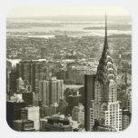Horizonte de New York City Calcomanias Cuadradas