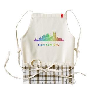 Horizonte de New York City del arco iris Delantal Zazzle HEART