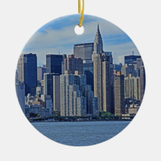 Horizonte de New York City del East River A1 Adorno Redondo De Cerámica