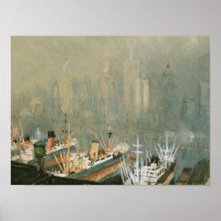 Horizonte de New York City del poster del puerto d
