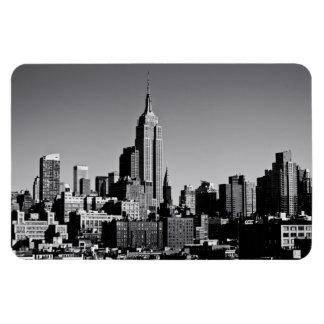 Horizonte de New York City en blanco y negro Iman Rectangular