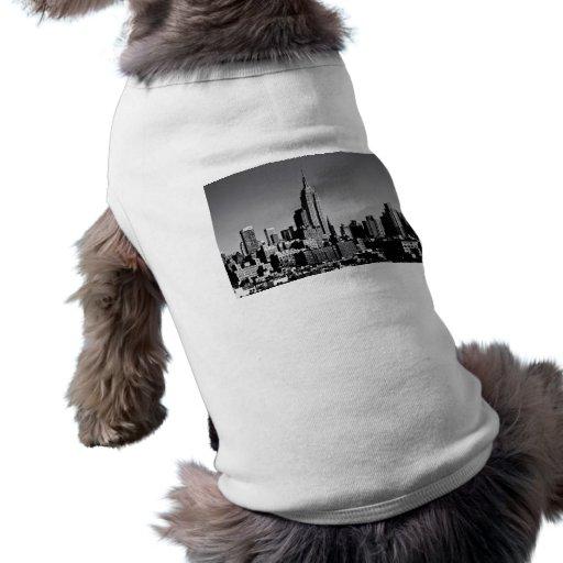 Horizonte de New York City en blanco y negro Playera Sin Mangas Para Perro