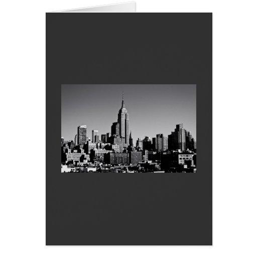 Horizonte de New York City en blanco y negro Felicitacion