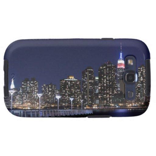 Horizonte de New York City en la noche Galaxy S3 Protectores