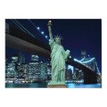 Horizonte de New York City en las luces de la Invitación 12,7 X 17,8 Cm