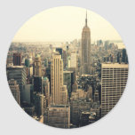 Horizonte de New York City Etiqueta Redonda