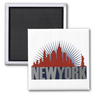 Horizonte de New York City Imán Cuadrado