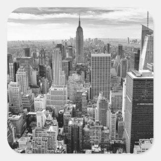 Horizonte de New York City Pegatina Cuadrada