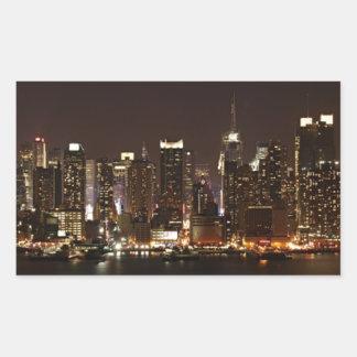 Horizonte de New York City Pegatina Rectangular