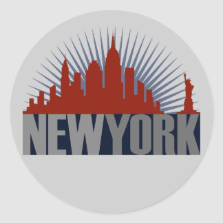 Horizonte de New York City Pegatina Redonda