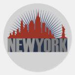Horizonte de New York City Pegatinas Redondas