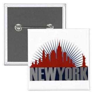 Horizonte de New York City Pin Cuadrada 5 Cm