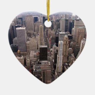 Horizonte de Nueva York Adorno Navideño De Cerámica En Forma De Corazón