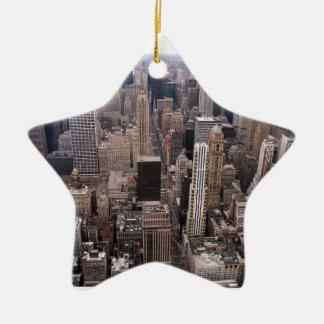 Horizonte de Nueva York Adorno Navideño De Cerámica En Forma De Estrella