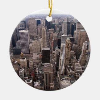 Horizonte de Nueva York Adorno Navideño Redondo De Cerámica