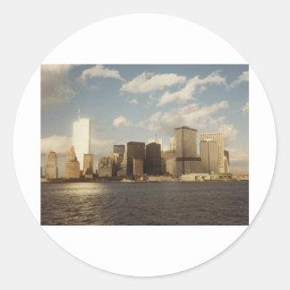 Horizonte de Nueva York antes de 9/11 de las Etiqueta Redonda