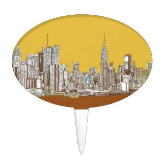 Horizonte de Nueva York en amarillo Decoraciones Para Tartas