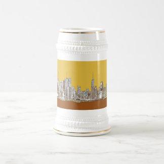 Horizonte de Nueva York en amarillo Jarra De Cerveza