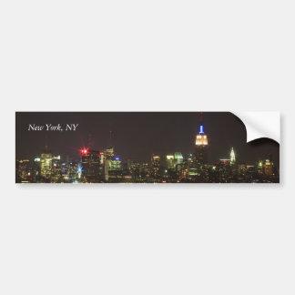 Horizonte de Nueva York en la noche Pegatina Para Auto
