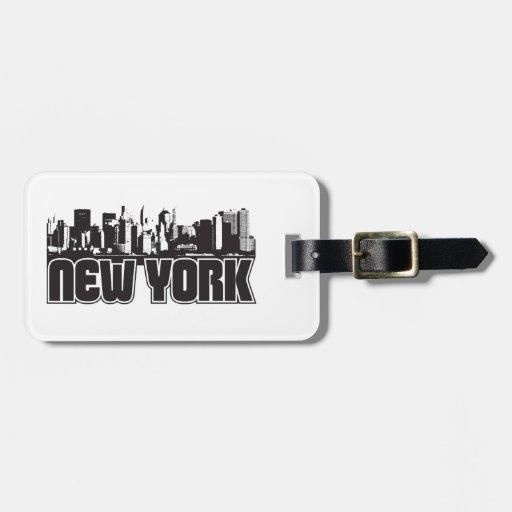 Horizonte de Nueva York Etiqueta De Equipaje