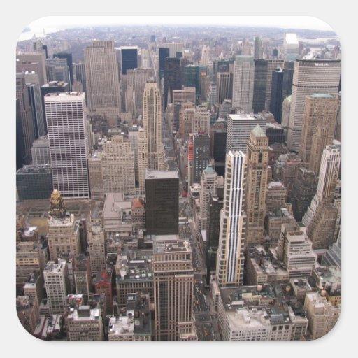 Horizonte de Nueva York Pegatina Cuadrada