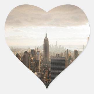 Horizonte de Nueva York Pegatina En Forma De Corazón