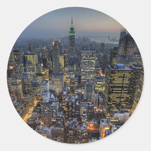 Horizonte de Nueva York Pegatina Redonda